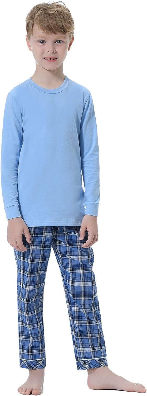Hawiton Ensemble Pyjama Fille V/êtement de Nuit Sortie de Bain Peignoir Rayures en Coton Manches Longues Col Roul/é pour Automne Hiver