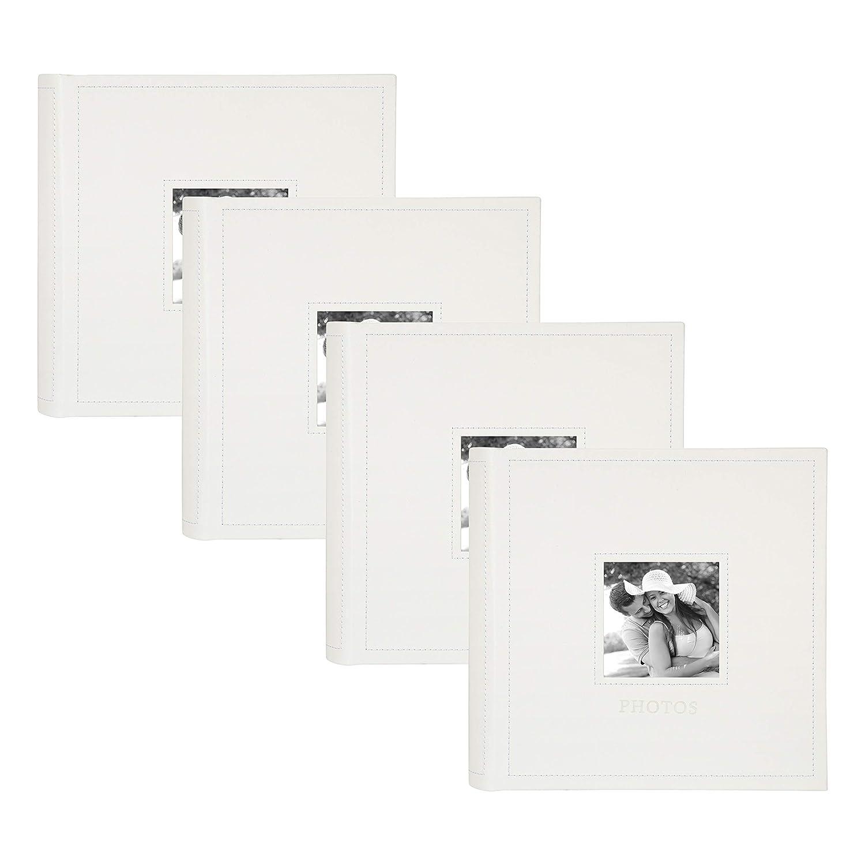 Set of 4 Blue Holds 300 4x6 Photos DesignOvation Debossed Faux Leather Photo Album