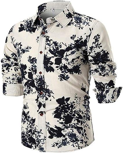 HhGold Camisa Blanca para Hombre Top Slim Fit Casual Manga ...