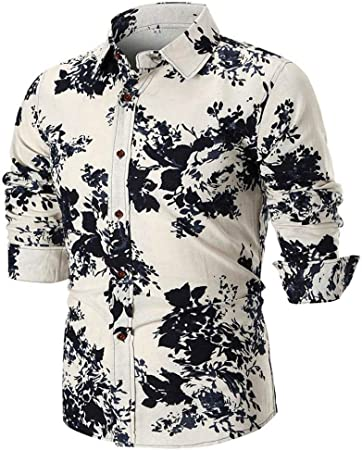 HhGold Camisa Blanca para Hombre Top Slim Fit Casual Manga Larga 3D Estampado de Flores Personalizado Botón con Cuello en V Algodón Africano Reino Unido Inglaterra Inglaterra Blusa XXL XXXL XXXXL: Amazon.es: