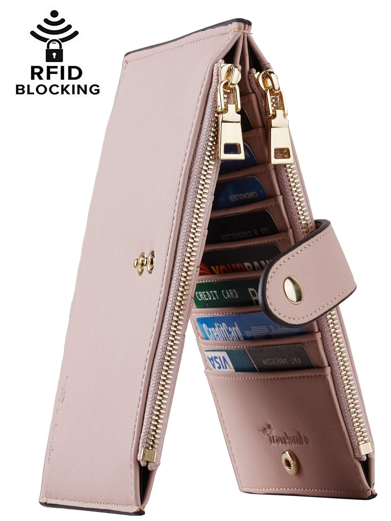 Travelambo Womens Walllet RFID Blocking Bifold Multi Card Case Wallet with Zipper Pocket (Chelsea Pink Champagne) by Travelambo