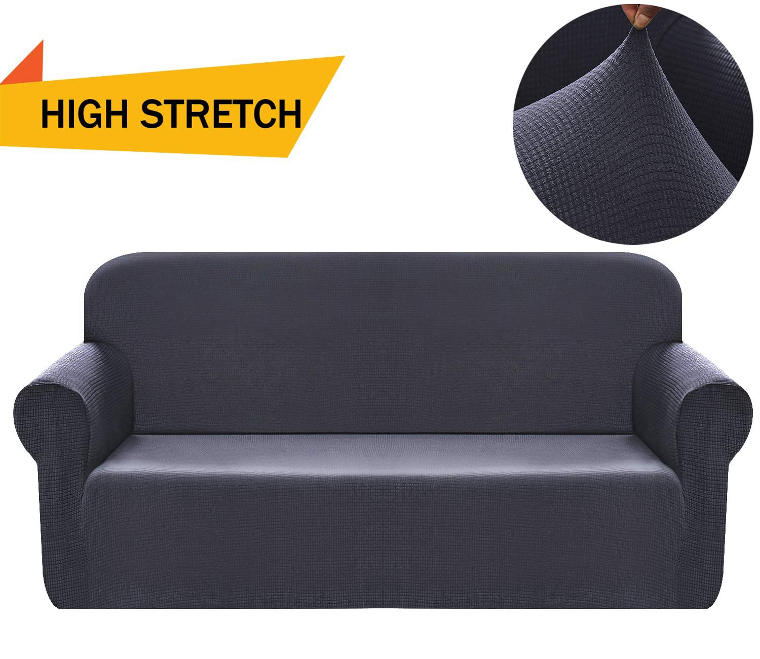 Chelzen Stretch Sofa Covers 1-Piece Polyester Spandex Fabric Living Room Couch Slipcovers (XL Sofa, Dark Gray)