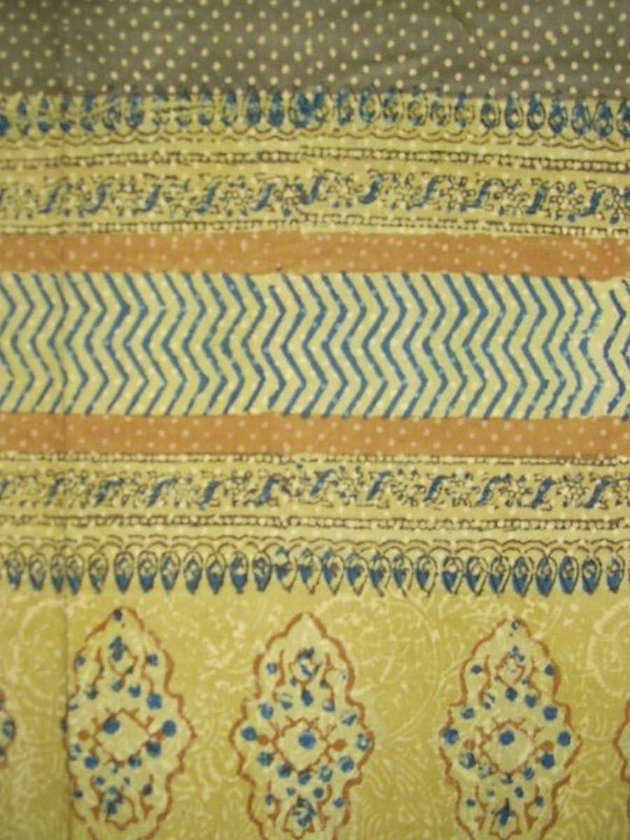 Homestead Kensington Block Print Curtain Drape Panel Cotton 46 x 88 Mustard Yellow
