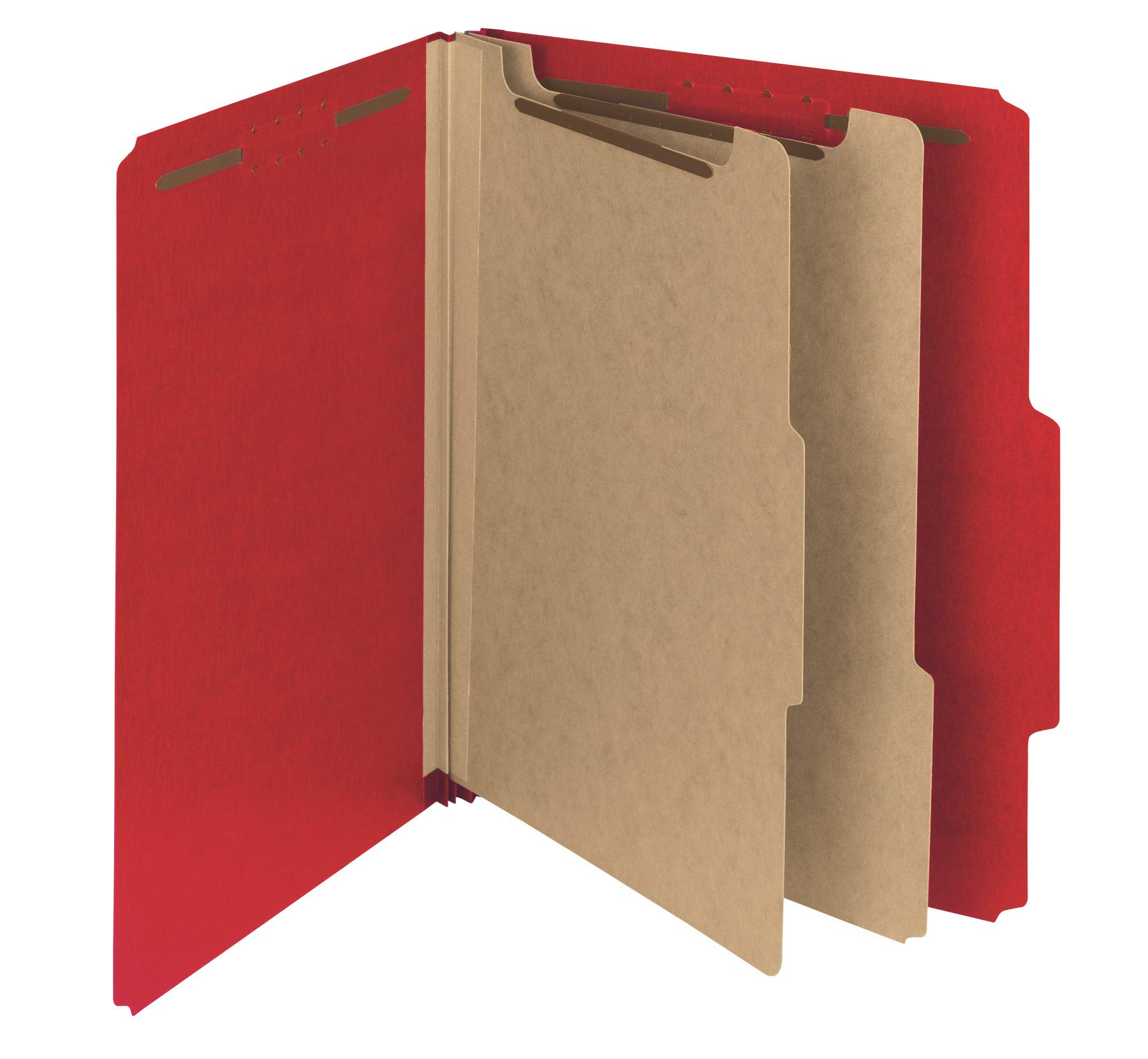Smead 100% Recycled Pressboard Classification File Folder, 2 Dividers, 2'' Expansion, Letter Size, Bright Red, 10 per Box (14061) by Smead