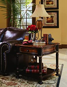 Hooker Furniture Preston Ridge End Table in Black Rub-Through