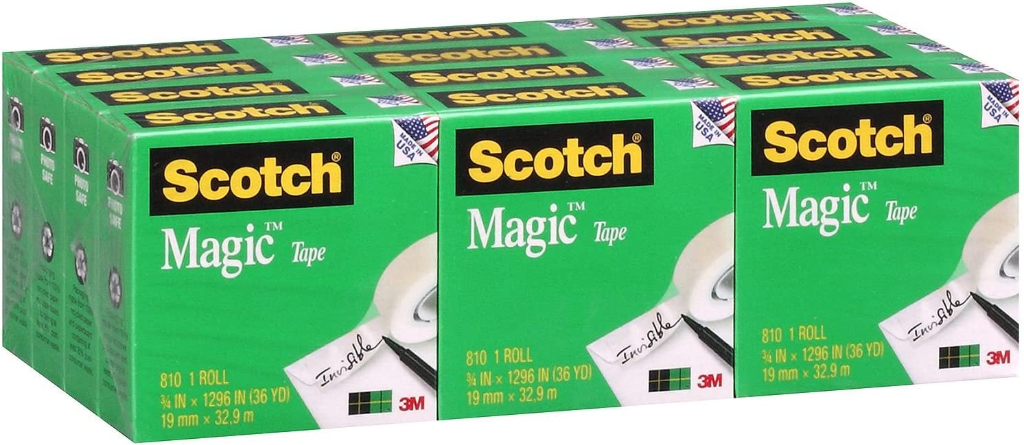 "3//4/"" x 1296/"" 12 Rolls Scotch 810 Magic Tape"