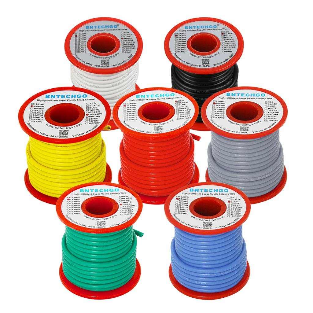 BNTECHGO 14 Gauge Silicone Wire - Soft and Flexible High Temperature ...