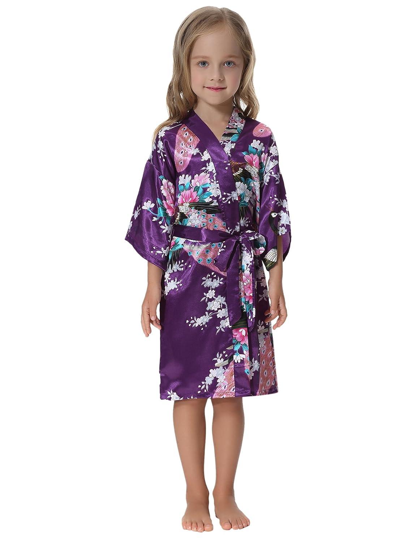 aibrou Girls 17764 pavo boda Púrpura real Kimono Albornoz Camisón de ...