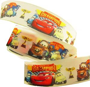 2 m x 22 mm color blanco Disney Pixar Cars Tarjetas de cumpleaños de groguén decorativa para tartas o regalos, lazos, Craft cordones: Amazon.es: Hogar