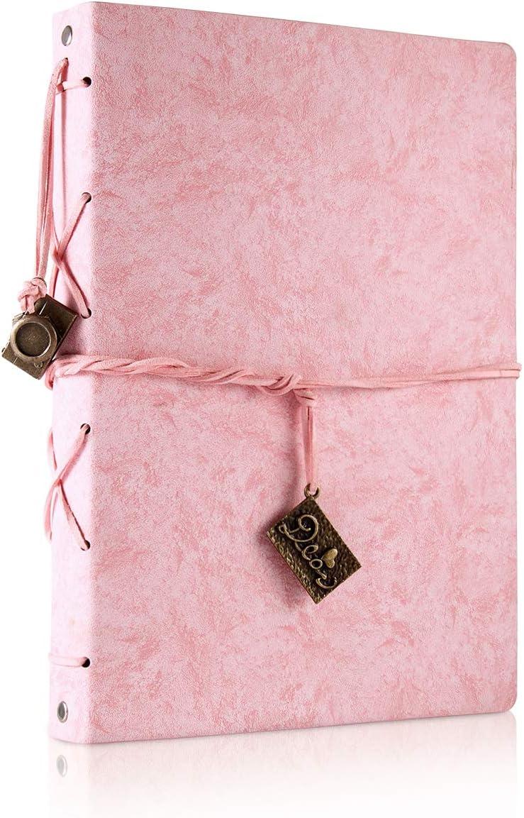 ThxMadam Scrapbook Cuero Álbum de Fotos Libro de Visitas de Boda con 60 Páginas Negras Presentes para Regalo de Valentín Día de Aniversario Navidad Cumpleaños para Esposa Hija Madre(Rosado, Grande)