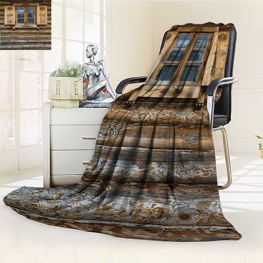 YOYI-HOME Silky Soft Plush Warm Duplex Printed Blanket Shutters Windows with Shutters Patterned on The Wall of The Old Wooden House Brown Beige Anti-Static,2 Ply Thick,Hypoallergenic/W79 x H47