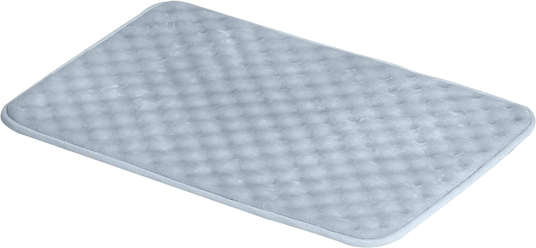 AmazonBasics Rippled Memory Foam Bath Mat - Small, Blue