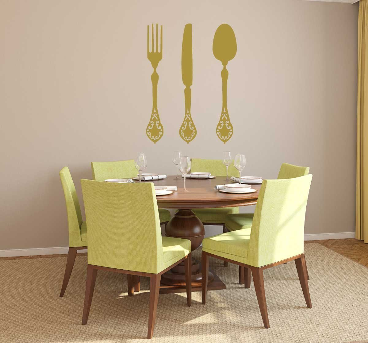 Amazon.com: Kitchen Wall Decals, Fork Knife and Spoon, Dining Room ...