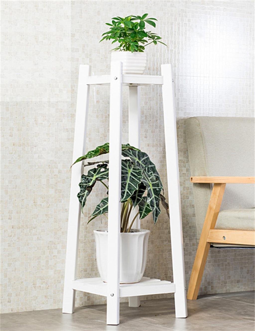 massivholz 2-tier boden blumentopf regal, pflanzen stehen ... - Grose Wohnzimmer Pflanzen