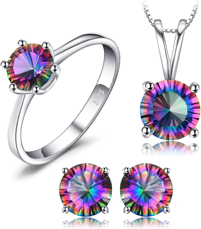 Baby&Queen-jewelry-sets Juego de Collar y Pendientes con Cadena de topacio místico y Anillo de Plata de Ley 925, Joyas de Plata de Ley 925, 8 Unidades