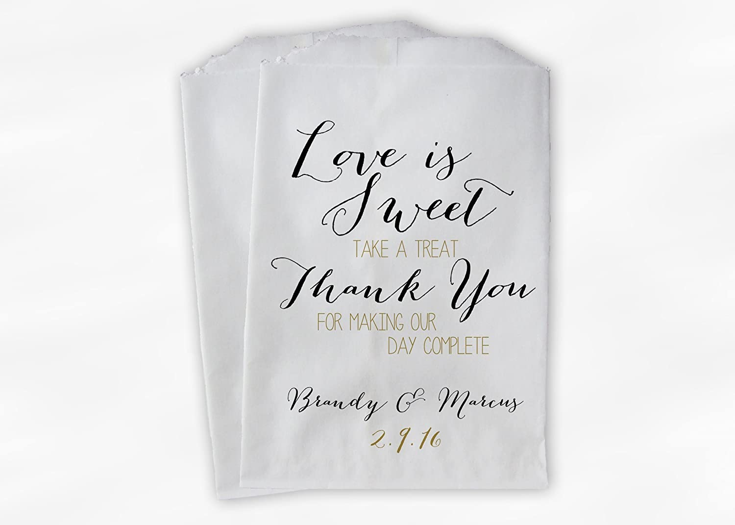 Amazon.com: Love Is Sweet Thank You Wedding Favor Bags for Candy ...