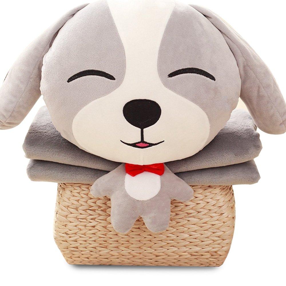 NAS AOSTAR Pillow Blanket Plush Stuffed Animal Toys Throw Pillow and Blanket Set with Hand Warmer Design. (Grey)