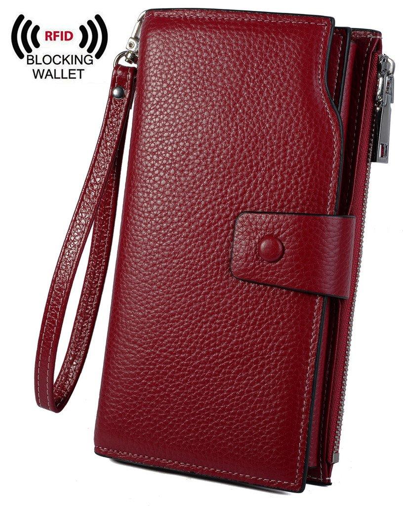 YALUXE Women's Wax Genuine Leather RFID Blocking Clutch Wallet Wallets for women Red