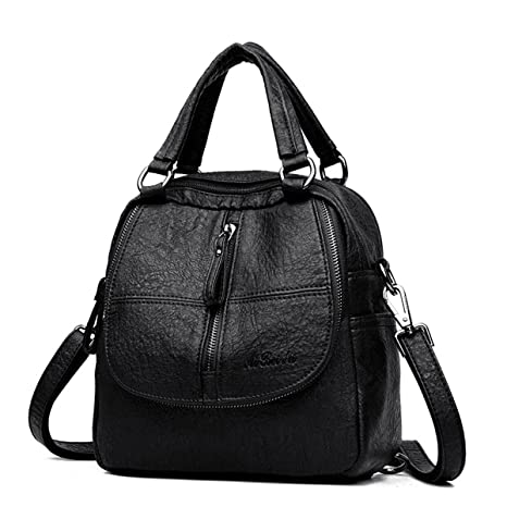 95374edda3c Fashion Backpack, JOSEKO Women High-end Multifunction Soft PU Leather  Handbag Double Layer Large Capacity Backpack Black