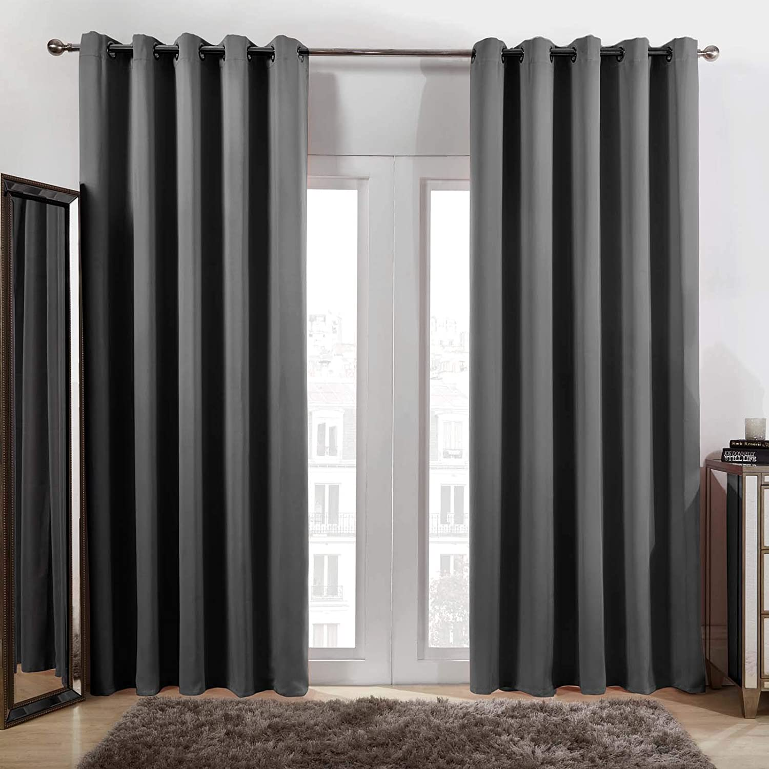 """Dreamscene Eyelet Blackout Curtains Set of 2 Thermal Ring Top Window Treatment Panels - Charcoal Grey, Width 66"""" x Drop 72"""" Charcoal Grey 66 Inch Wide x 72 Inch Drop"""