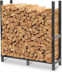 """Pilgrim Home and Hearth Pro 48"""" Outdoor Firewood Rack Log Holder with Cover, Durable Black Powder Coat"""