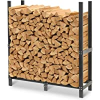 Pilgrim Home and Hearth Pro 48″ Outdoor Firewood Rack Log Holder with Cover, Durable Black Powder Coat