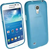 iGadgitz Blue Glossy Durable Crystal Gel Skin (TPU) Case Cover for Samsung Galaxy S4 IV Mini I9190 I9195 Android Smartphone Cell Phone + Screen Protector