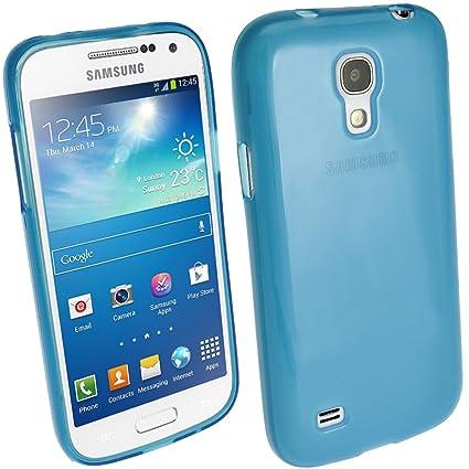 igadgitz Azul Case TPU Gel Funda Cover Carcasa para Samsung Galaxy S4 SIV Mini I9190 I9195 Android Smartphone + Protector de pantalla