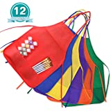 KUUQA 12 Pack 6 Color Kids Aprons Children Painting Aprons Kids Art Smocks with 2 Roomy pockets for Kitchen and Classroom (brushes not included)