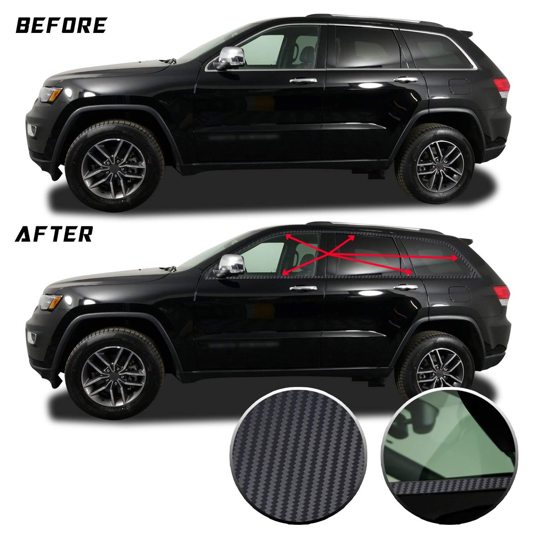 Matte Black Optix Window Trim Chrome Delete Precut Blackout Vinyl Wrap Overlay Kit Compatible with Grand Cherokee 2011 2012 2013 2014 2015 2016 2017 2018 2019 2020