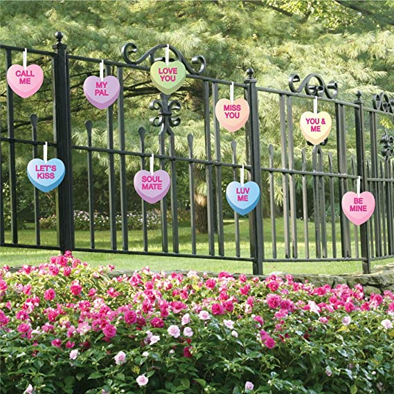 VictoryStore Yard Sign Outdoor Lawn Decorations Set of 9 Hanging Candy Hearts /Valentines Yard Decorations