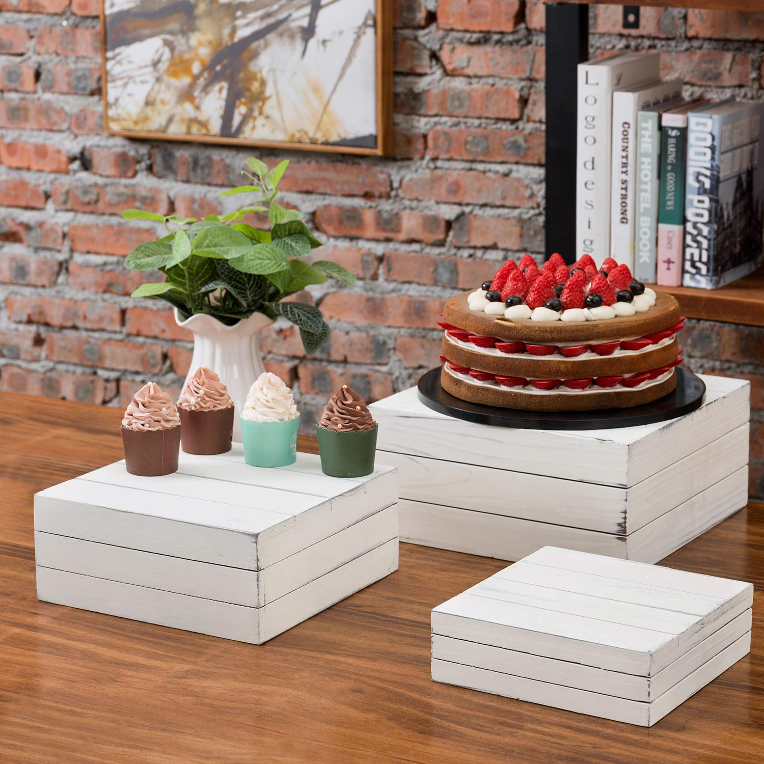 MyGift Vintage Distressed White Wood Nesting Storage Crate Display Riser Stands, Set of 3