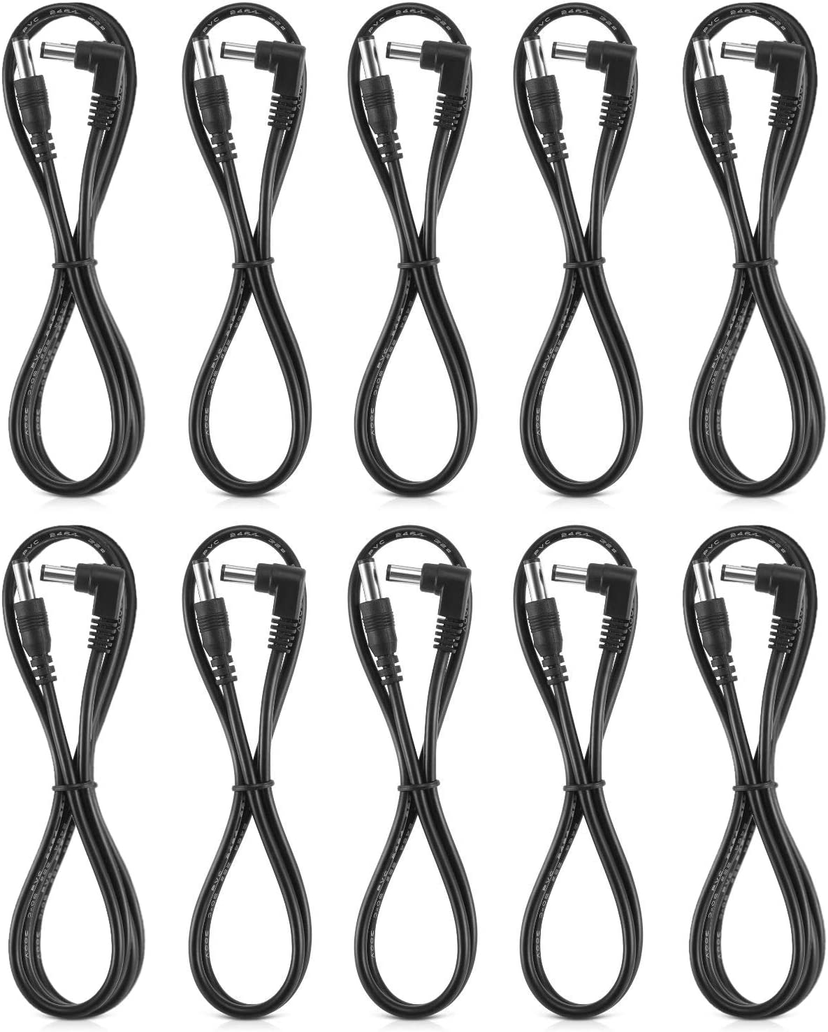 Donner Guitar Effects Pedal DC Power Cable Patch Cords, Including 60CM 6-Pack and 80CM 4-Pack