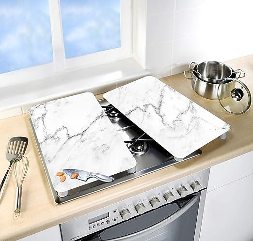 Wenko 53895100-Protector de Placa Universal mármol, Juego de 2 Unidades, Cristal Templado, 30 x 52 x 1, 8-5, 5 cm, Multicolor, 30 x 52 cm