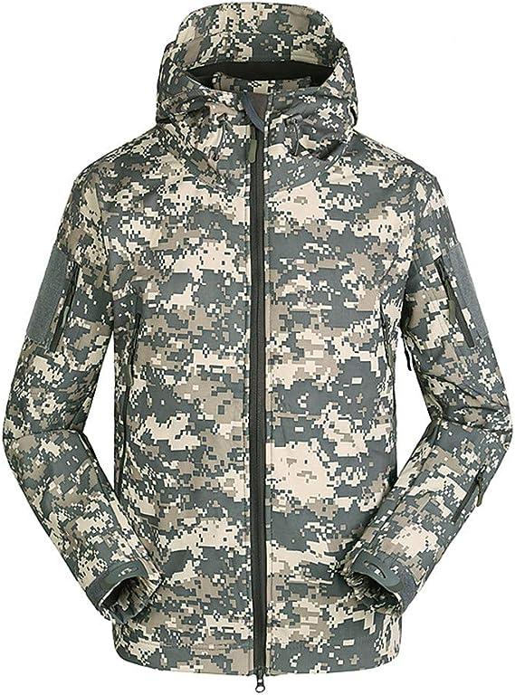 YuanDiann Homme Tactique Camouflage Veste Softshell Automne Hiver Outdoor Arm/ée Militaire Polaire Doubl/ée Blouson Imperm/éable Coupe A Capuche Randonn/ée Chasse Manteau