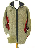 Fleece Lined Natural Grey with Red Underarm Handknitted Woollen Jacket - Fair Trade
