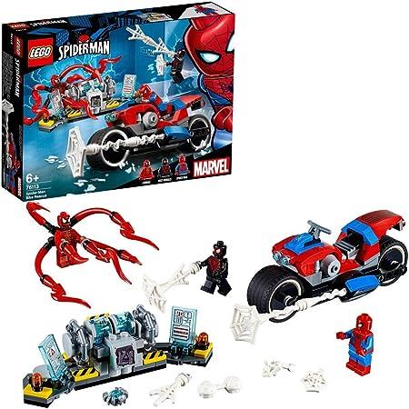 Incluye 3 minifiguras (novedades en diciembre de 2018): Spider-Man, Miles Morales y Carnage.,La moto
