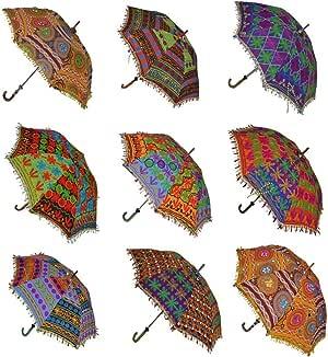 Sophia Art - Paraguas decorativo indio de algodón hecho a mano, diseño de algodón a la moda bordado bohemio, paraguas de playa, paraguas de protección UV, sombrilla paraguas para el sol (10