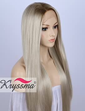 K ryssma Blonde Lace Front Wigs for White Women Ombre Rooted Mixed White  Blond Hair fcf7539f9