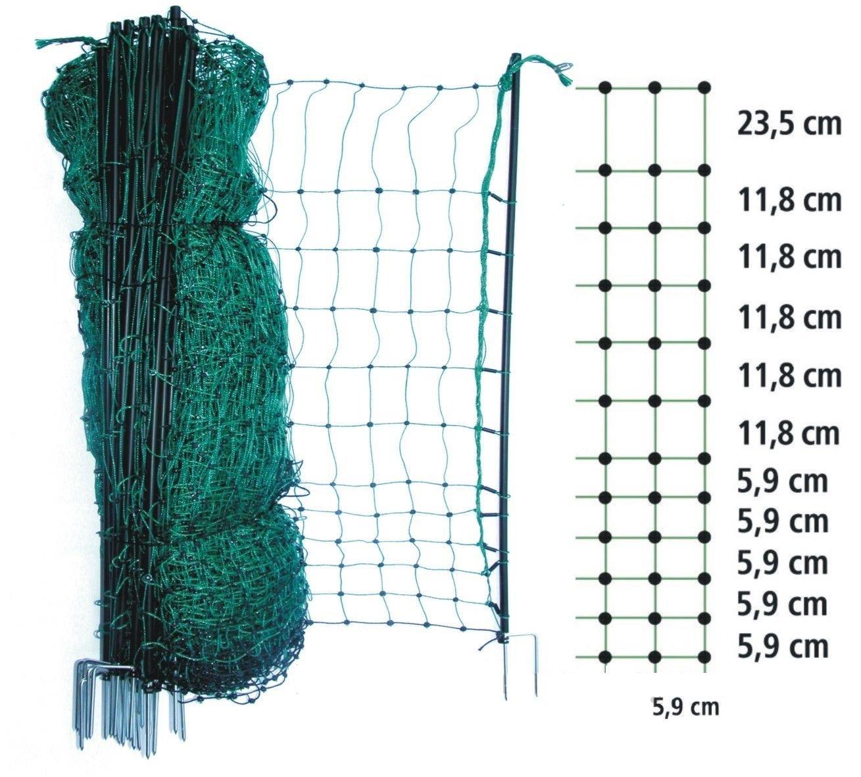 grüner Haustier/Kleintier-Zaun 112 cm x 50 m Hühnerzaun Hundezaun ...