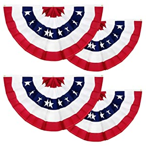 TURNMEON 4 Pack American Flag Bunting Large Pleated Fan, 1.5 X 3 Ft Patriotic Bunting Flag 4th of July Decoration US Flag Banners Memorial Day Independence Day Fourth July Red White Blue Outdoor Decor