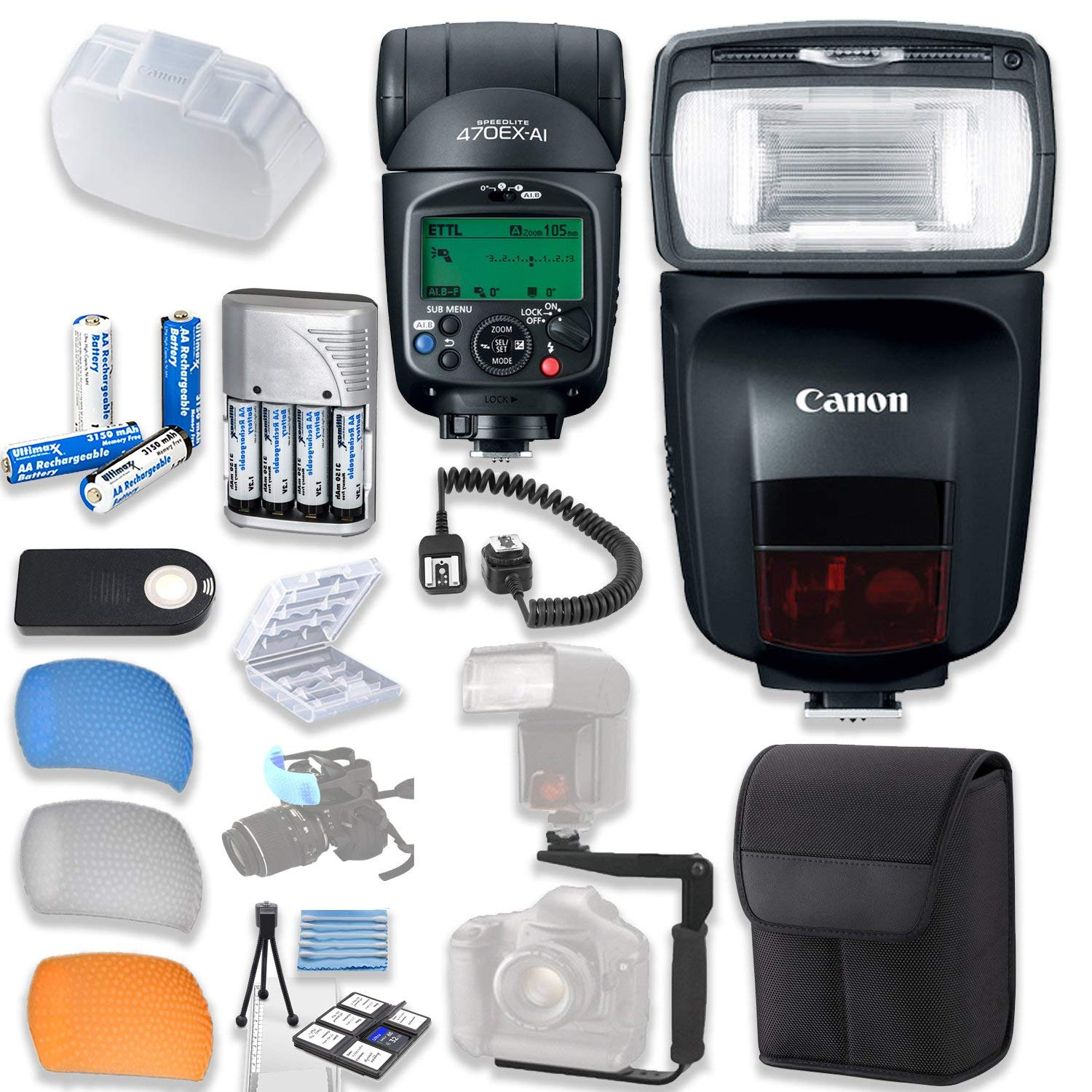 Canon Speedlite 470EX-AI Flash with Canon Speedlite Case + TTL Cord + Flash L-Bracket + Flash Diffusers + 4 High Capacity AA Rechargeable Batteries & Charger + Accessory Bundle
