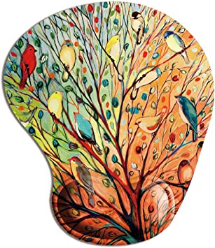 Super Non-Slip PU Base Tree of Life Gorgeous Like Leather Ergonomic Mouse Pad Wrist Rest Memory Foam Mousepad with Wrist Support
