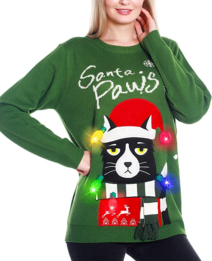 Light Up Women's Christmas Cat Sweater, Ugly Sweater Knit Holiday Funny Sweatshirt