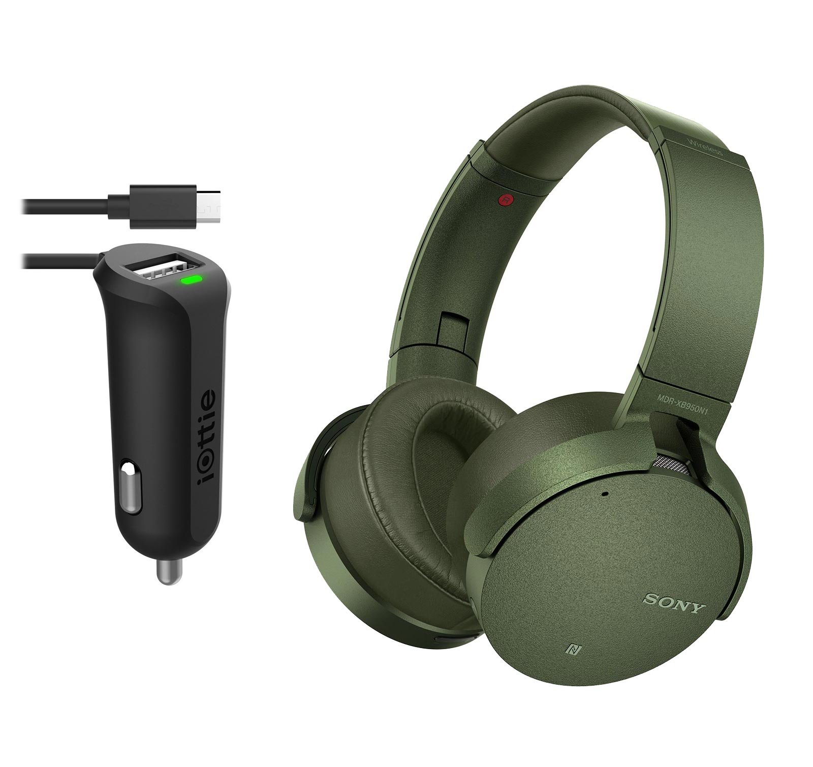 Sony MDRXB950N1 Wireless Bluetooth Noise Cancelling Headphones With Micro USB Car Charger (Green)
