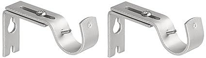 Amazon Basics Adjustable Curtain Rod Wall Bracket Hooks, Set Of 2, Silver Nickel by Amazon Basics