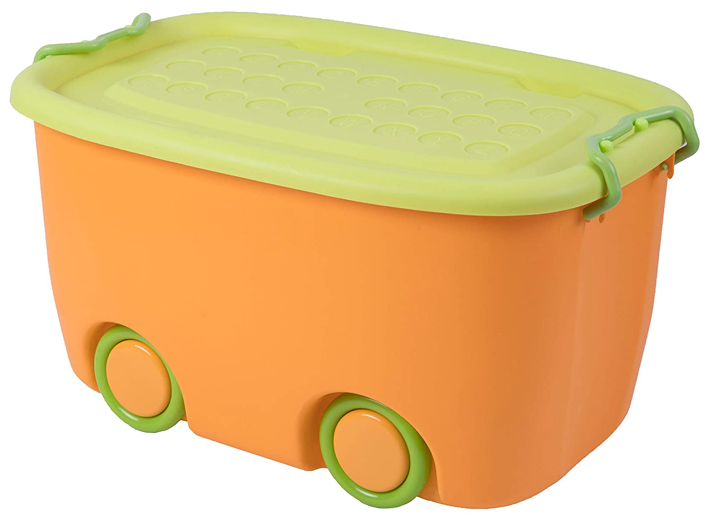 Large Orange Basicwise QI003221 Stackable Toy Storage Box with Wheels
