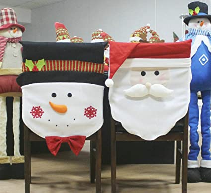 ELFJOY Christmas Santa Claus & Snowman Chair Back Covers for Xmas Holiday Festive Decor (Group)