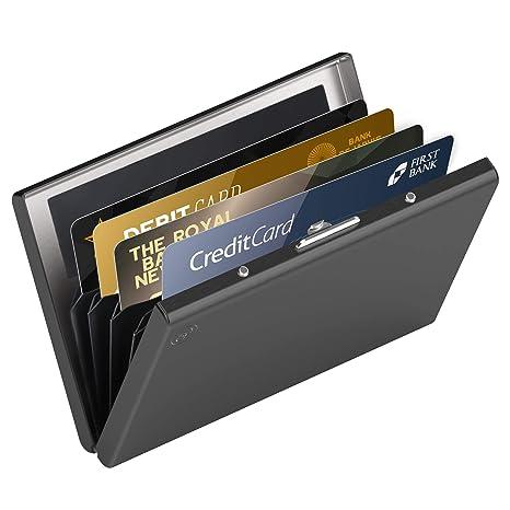 753a302472 Card Genie Portafoglio Rigido Anti RFID Uomo/Donna in Acciaio Inox Satinato  – Porta Carte di Credito/Tessere Schermato – 6 Scomparti