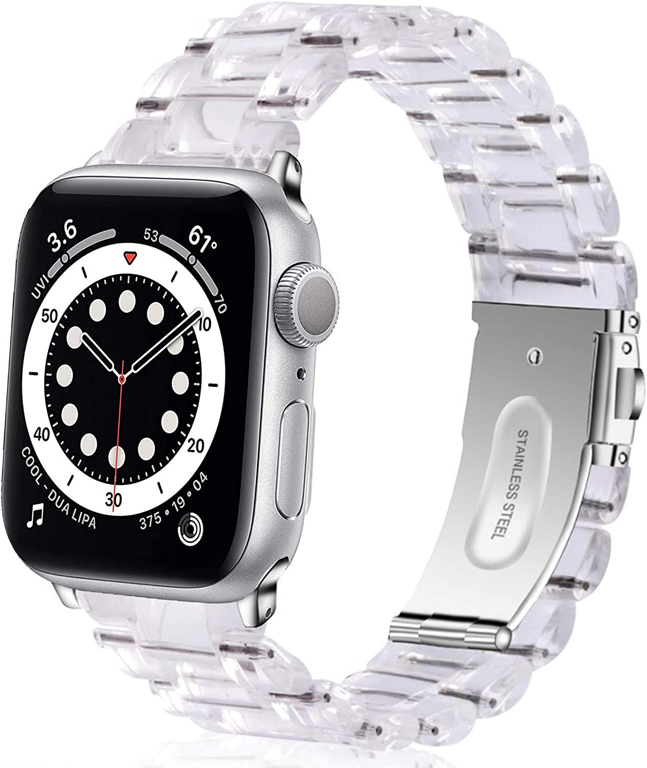 Miimall Compatible Apple Watch 38mm 40mm Resin Band Women Men Bracelet Stainless Steel Buckle Band Strap for Apple Watch SE Series 6 Series 5 Series 4 Series 3 Series 2 Series 1 38mm 40mm(Clear)